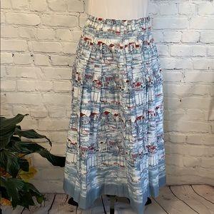 Pretty LIZ CLAIBORNE Nautical Long Pleated Skirt